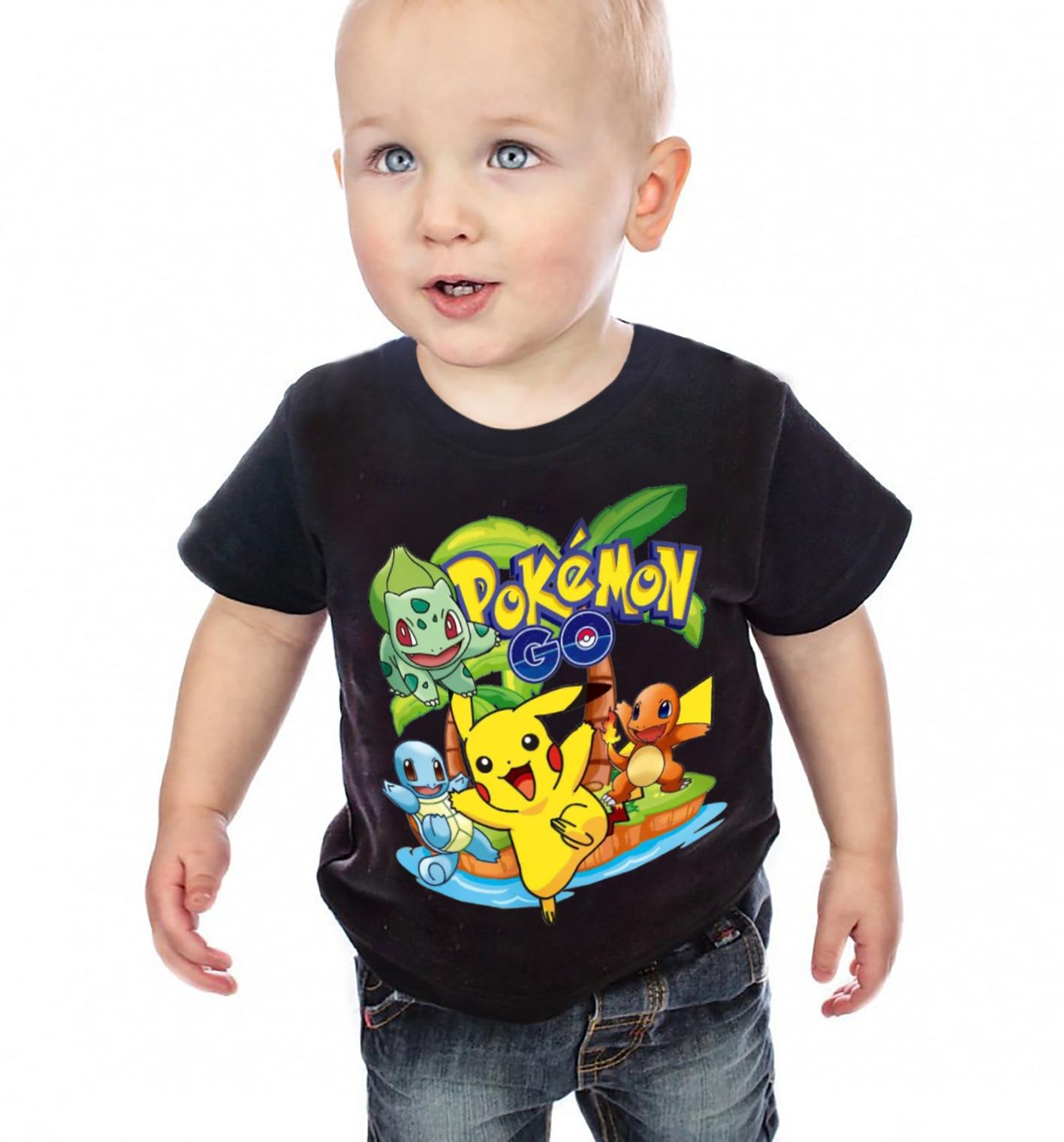 3 7Ys Boys Girls Pokemon Go T shrit Kids Cotton T shirts Short