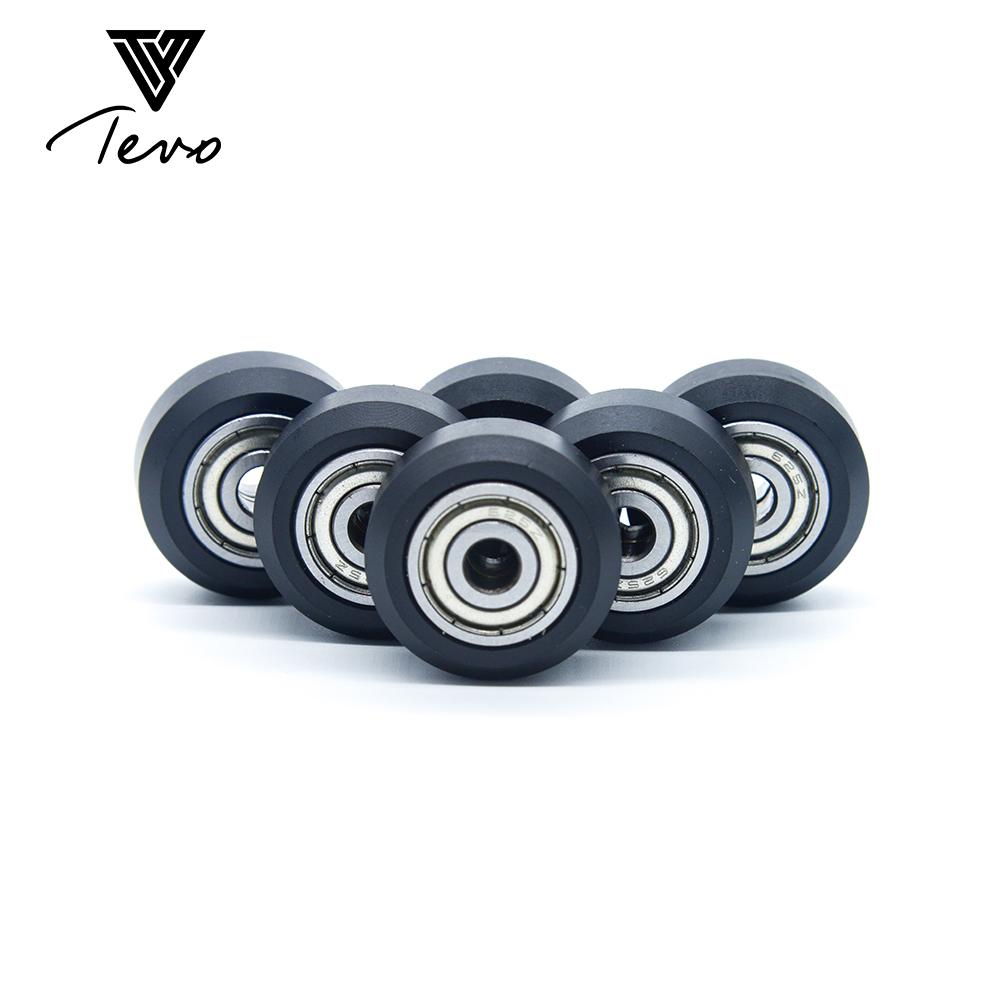 TEVO CNC para pompón de rueda de plástico de construcción abierta con rodamientos modelos grandes rueda redonda pasiva rueda de perlin de engranaje de polea para ranura en v
