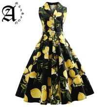 Ameision Retro Dress Lemon Print Summer Vintage Turn Down Belts Button Women Elegant Party Vestidos Office Dresses