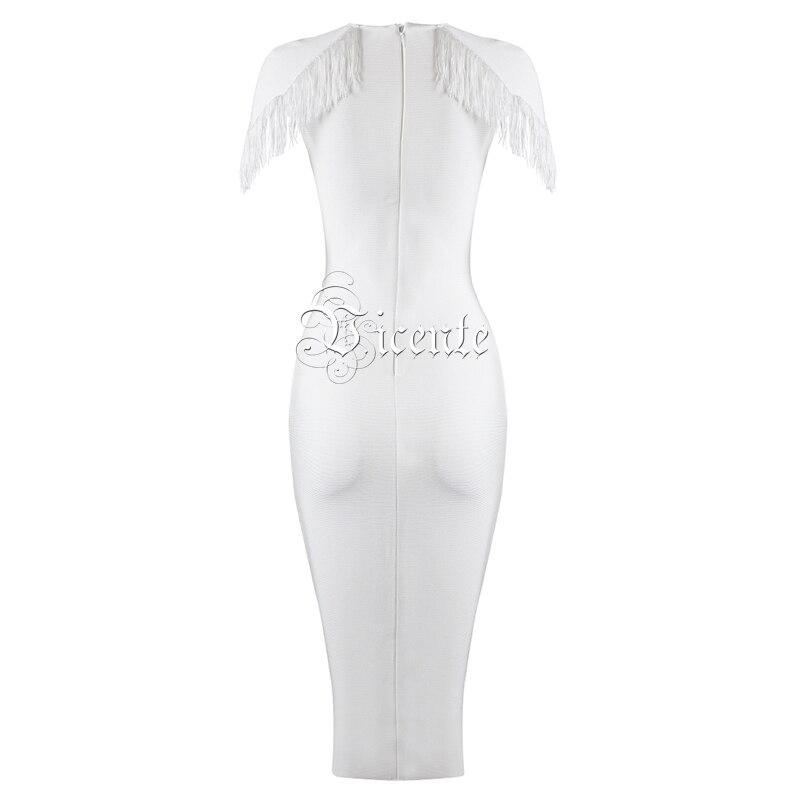Col Élégante Gros Party Robe Sexy Sans Embelli Chaude 2019 Celebrity Blanc Nouvelle Midi Bandage Manches Mode Glands Vicente En V 6UvIaqUx