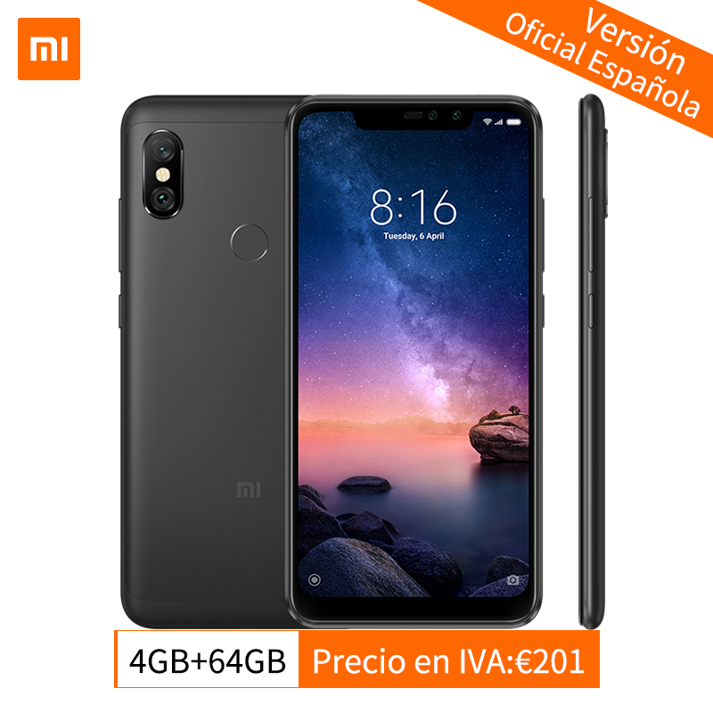 Mondial Version Xiaomi Redmi Note 6 Pro 4 gb 64 gb 6.26 Cran Plein Écran Smartphone Snapdragon 636 Octa core Double Caméras 4000 mah