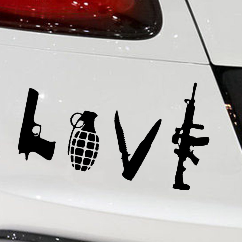Abstract Love Art Word Pistol Grenade Submachine Gun
