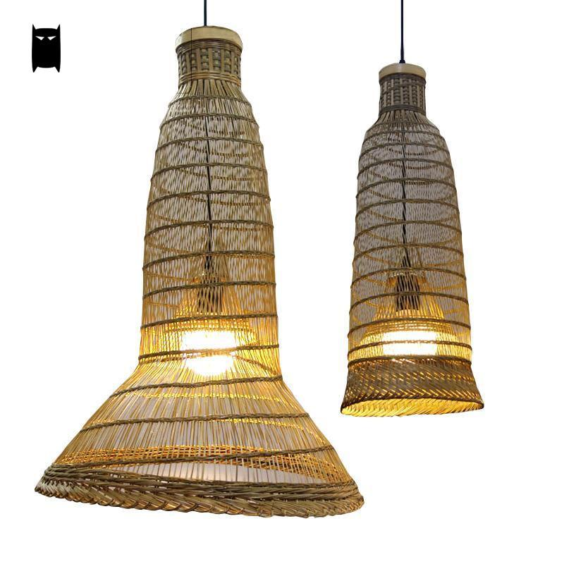 Bamboo Wicker Rattan Pendant Light Fixture Asian Rustic Hanging Ceiling Lamp Avize Luminaria Home Dining Tea Room Restaurant Bar bamboo wicker rattan round basket bucket pendant light fixture rustic asian japan hanging lamp luminaire design for dining room