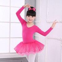 Cute Rose Long Sleeve Ballet Tutu Dress Children Girls V Neck Cross Back Tulle Dress Kids