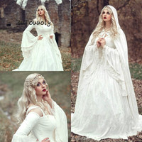 Vintage Ivory Victorian Medieval Gothic Wedding Dresses Long Sleeve Lace Costumes Fairy Tales Bridal Gowns Boho Country mariage