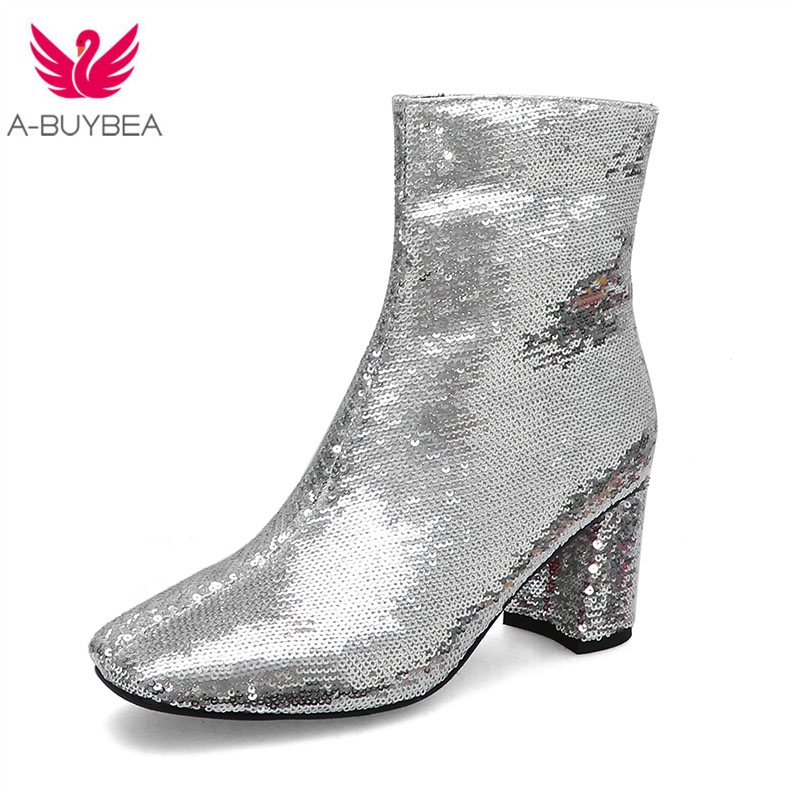 Bling Bling Upper Ladies Ankle Boots Sequined Fashion Zipper Thick High Heels Square Toe Winter Boots Silver Women Shoes Size 43