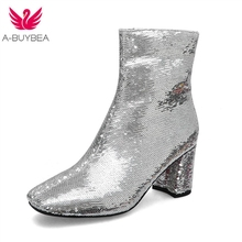 Bling Bling Upper Ladies Ankle Boots Sequined Fashion Zipper Thick High Heels Square Toe Winter Boots Silver Women Shoes Size 43 все цены
