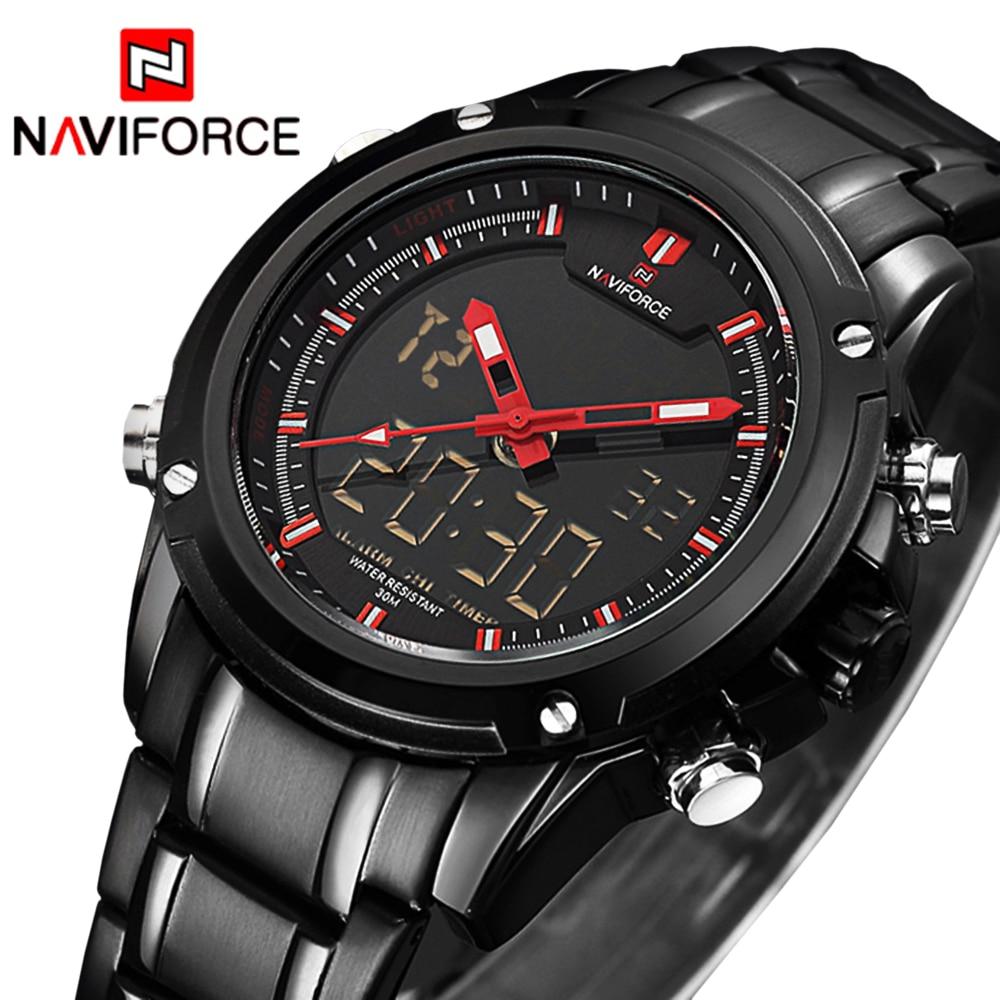 NAVIFORCE Sportklok Heren Quartz Polshorloge Militair Horloge Voor Mannen Volledig Staal Herenhorloge Relogio masculino Reloj Hombre 2018