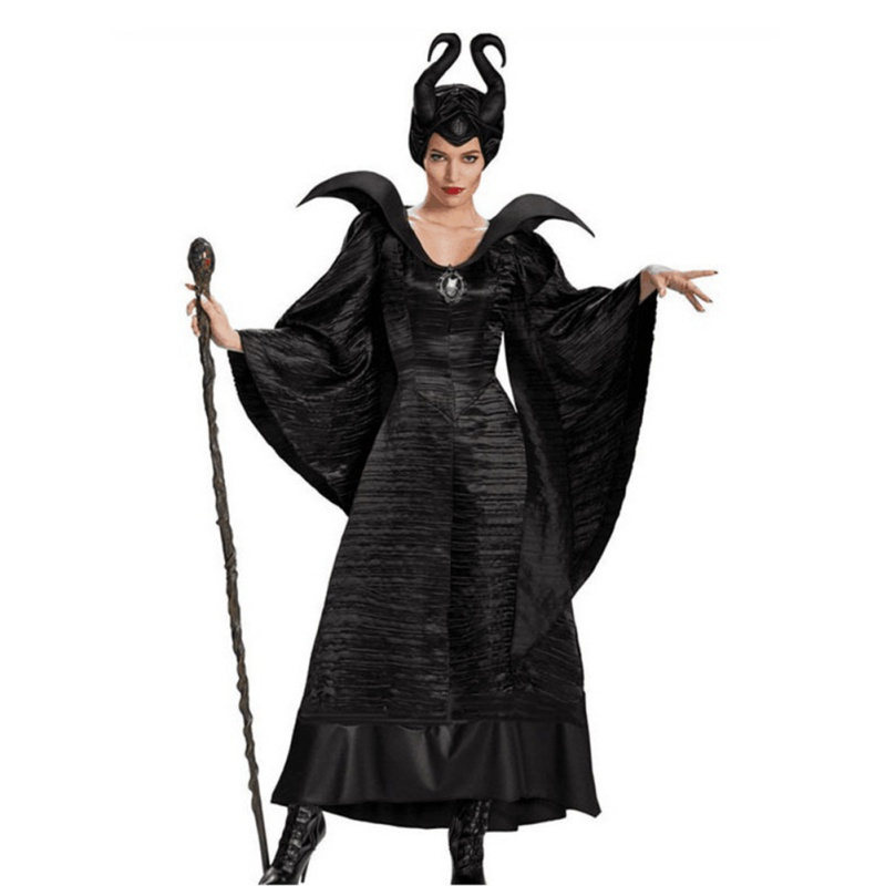 Movie Maleficent Costume Fancy Dress Outfit With Horns Headwear Adult Women Halloween Cosplay Costumes Devil Maleficent Dress