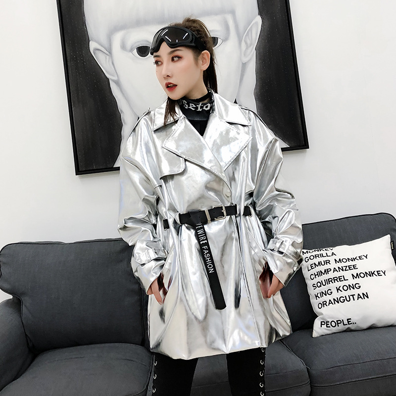 Fashion Loose Waist Belt PU Leather Long Jacket Women Spring New Thailand Tide brand Back Letter Printing Coats