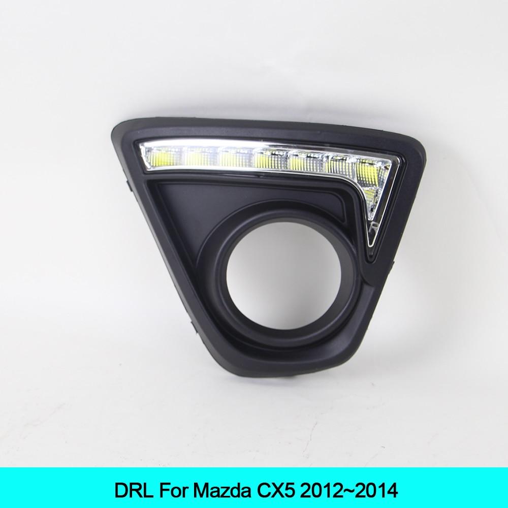 Car LED DRL Waterproof ABS Super bright 12V LED Daytime Running Light for Mazda CX5 cx-5 2012 2013 2014 2pcs set led drl daylight lamp daytime running lights car drl led kit for mazda cx 5 cx5 cx 5 2012 2013 2014 2015