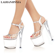 LAIJIANJINXIA 8 Inch clear Shoes Sexy Stripper Shoes 2017 Sexy 20cm Temptation Crystal sandals Platform Ultra High Heels shoes