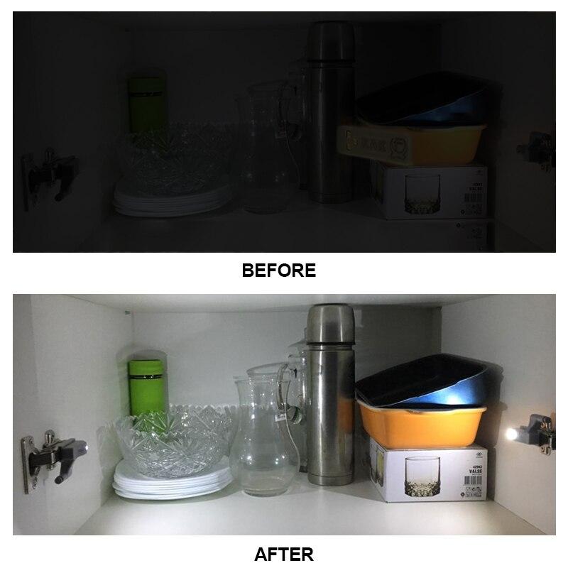 Купить с кэшбэком 10PCS KAK LED Cabinet Hinge Light Universal Kitchen Bedroom Living Room Cupboard Wardrobe 0.25W Inner Sensor light Hardware