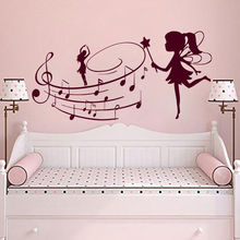 Music Wall Decals Fairy With Note Sticker Nursery Bedroom Girl Art Mural Style Decor AY984