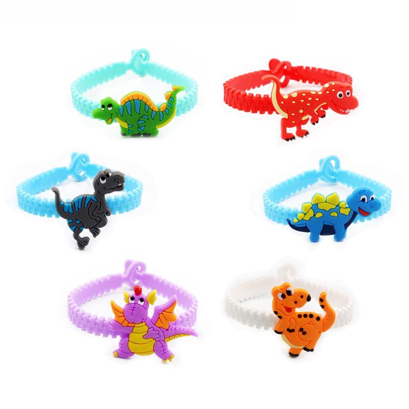 6pcs Jurassic Dinosaur Party Decoration Wristband Rubber Bangle Bracelets Kids Birthday Supplies