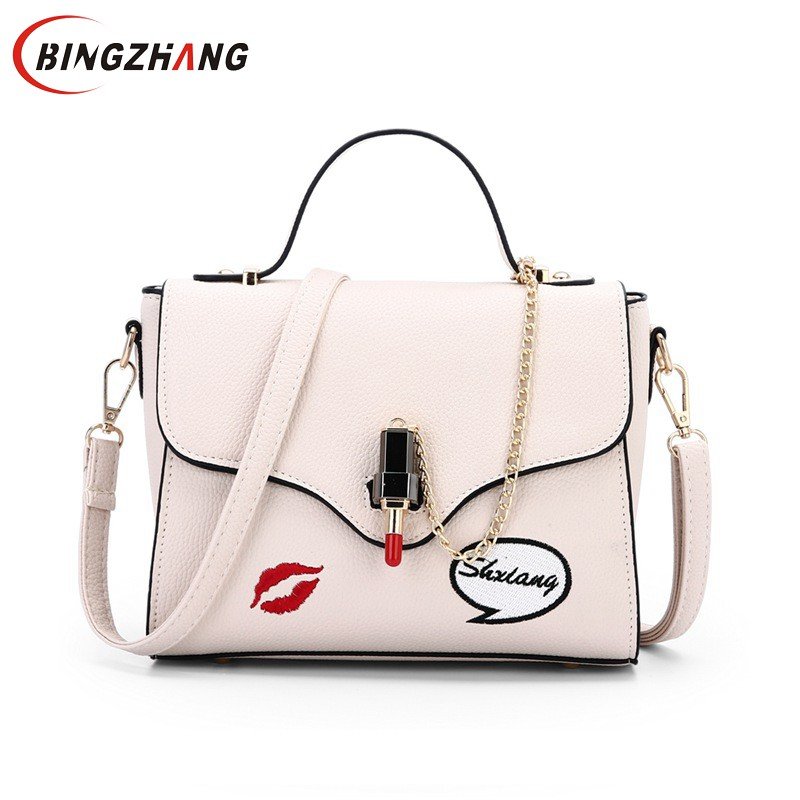 2017 Fashion Summer Female Tote Bags Satchel PU Leather Sweet Lipstick Handbags for Women Femininas Gray Beige Purse L4-3146 Сумка
