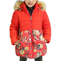 2017 New Winter Girls Cotton Padded Jacket Children Thickening Warm Hooded Coat Flowers Manteau Fille Hiver 2 Color