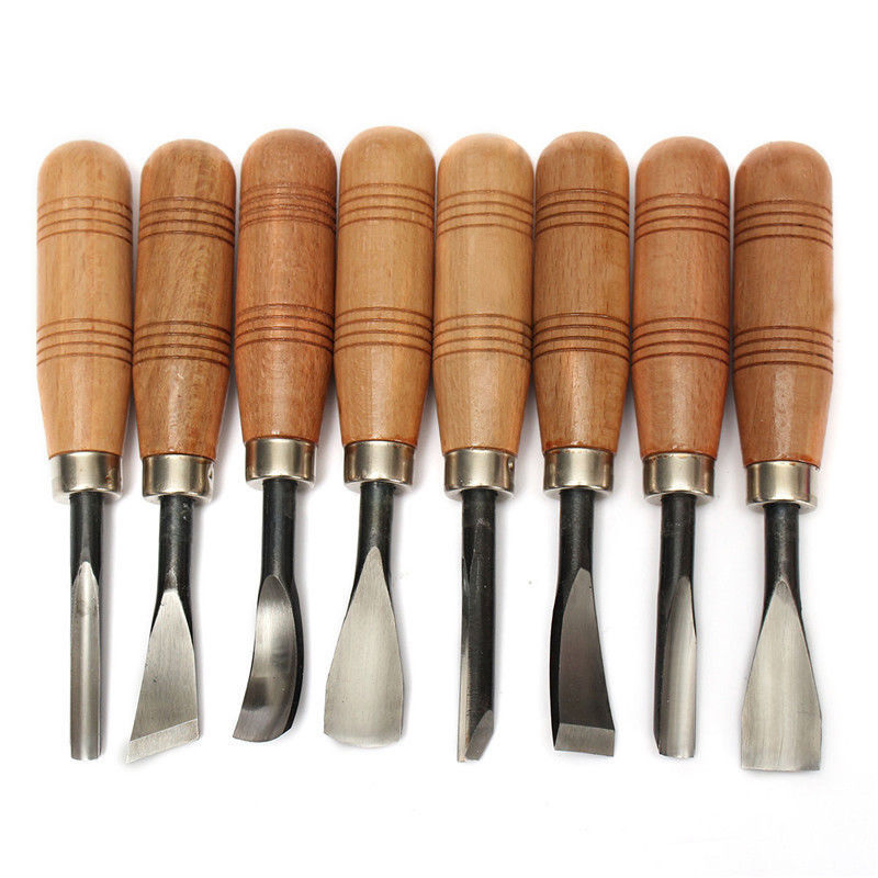 8Pcs Dry hand Wood Carving Tools Chip Detail Chisel set Knives tool купить