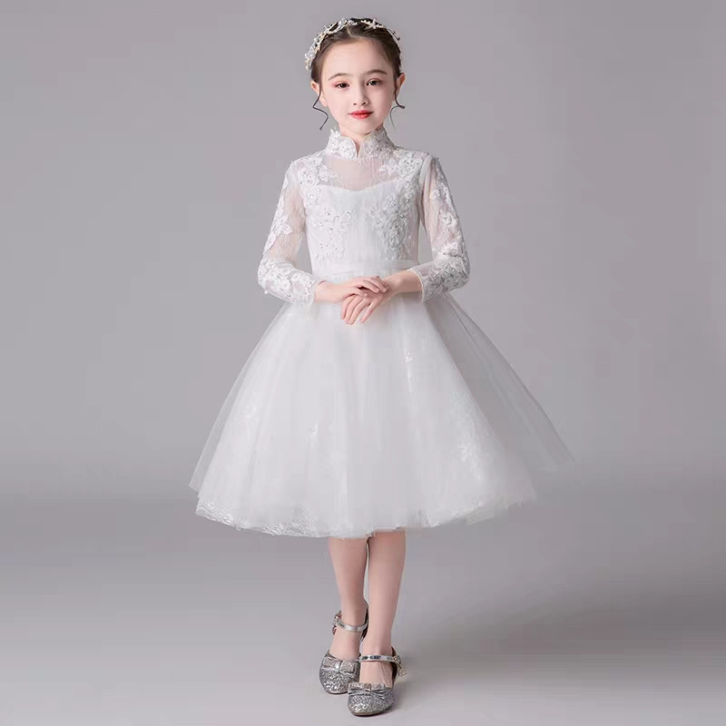 2019Children Girls Elegant Solid White Color Embroidery Lace Flowers Birthday Wedding Party Princess Dress Kids Piano