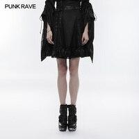 PUNK RAVE Women Black Mini Skirt High Waist Japan Lovely Skirts Fashion Gothic Lolita Skirt Club Party Caual Skirts