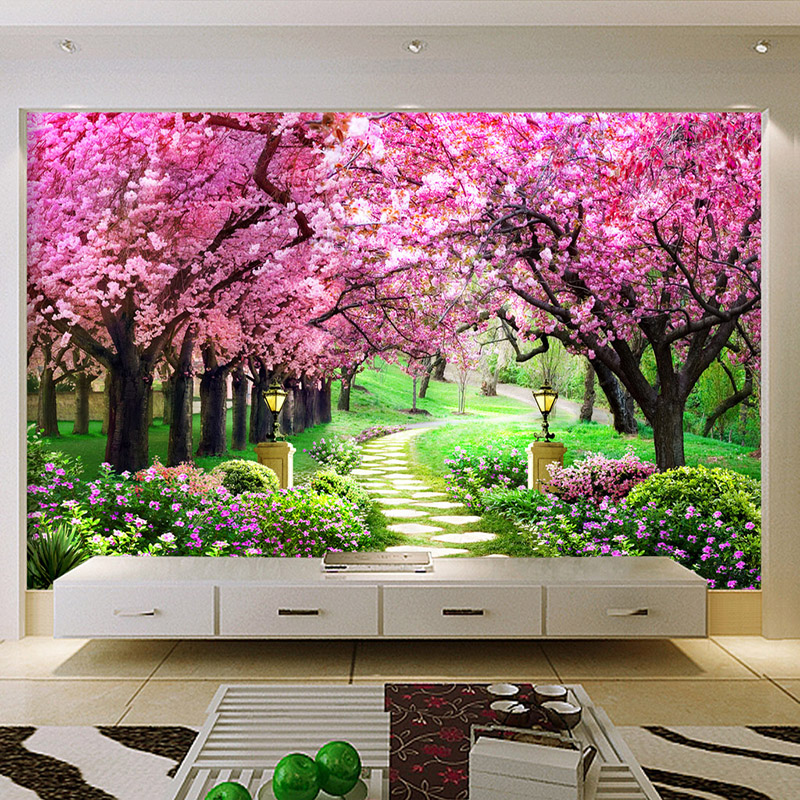 Customized Size 3D Wallpaper Cherry Tree Garden Path Landscape Backdrop Wall Mural Living Room Bedroom Papel De Parede Floral 3D