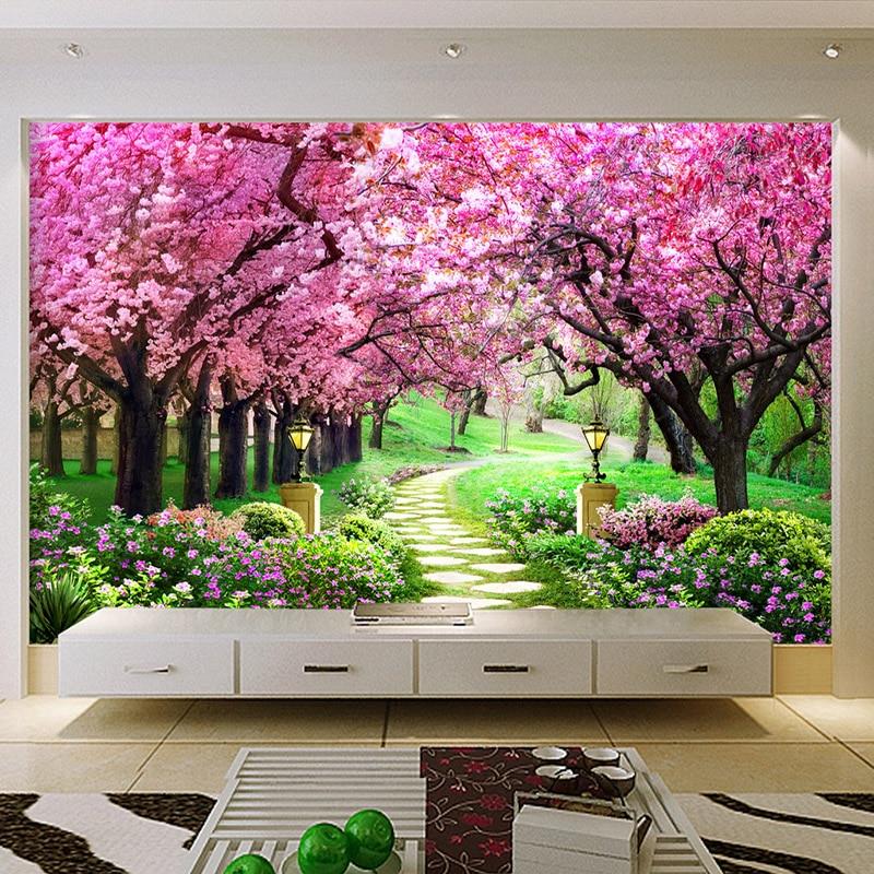 Customized Size 3d Wallpaper Cherry Tree Garden Path