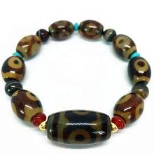 Топ продаж эластичный агатовый браслет три глаза бусины дзи амулет с распорками Высокое качество Тибетский дзи бусины браслет
