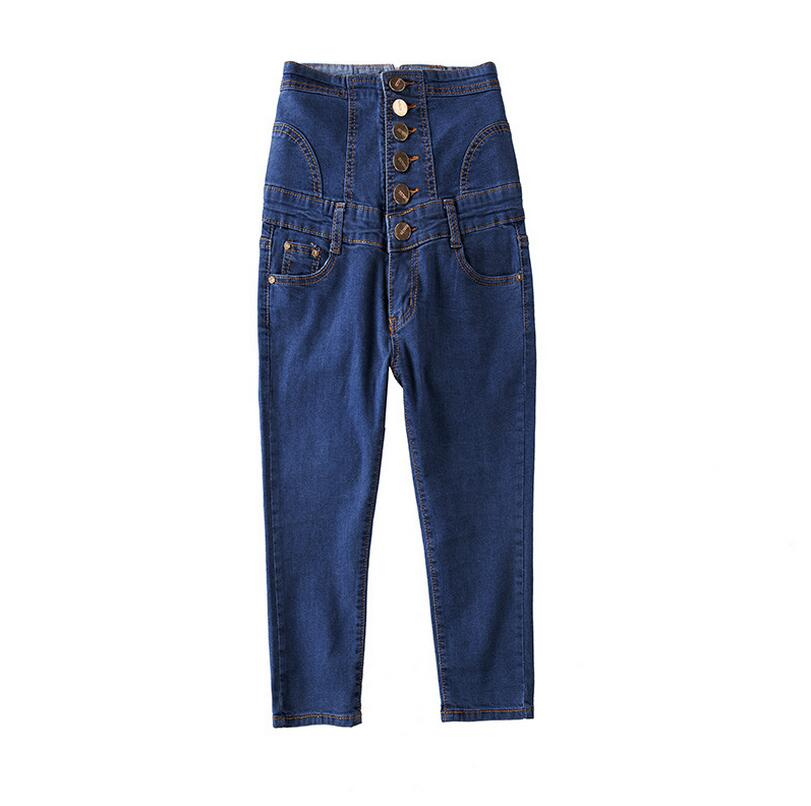 2017 summer new women s large size high waist casual Slim jeans pants retro Pencil denim