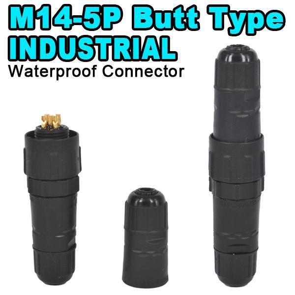 M14 Industrial 5A 500V Street LED Light Lamp 5 Pin Waterproof IP68 Electrical Connector 5pin Wire Contact Butt Type 5 Pole Plug