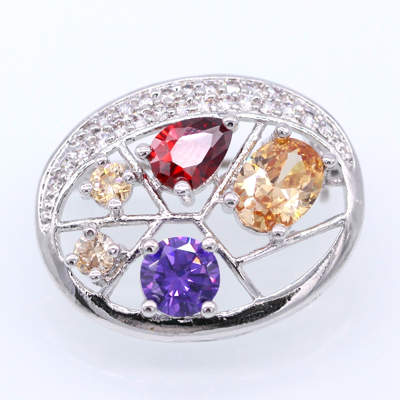 Fashion Jewelry White Gold Pated Colorful AAA Zircon Brooches Pins Clothes Accessories For Women Christmas Gift