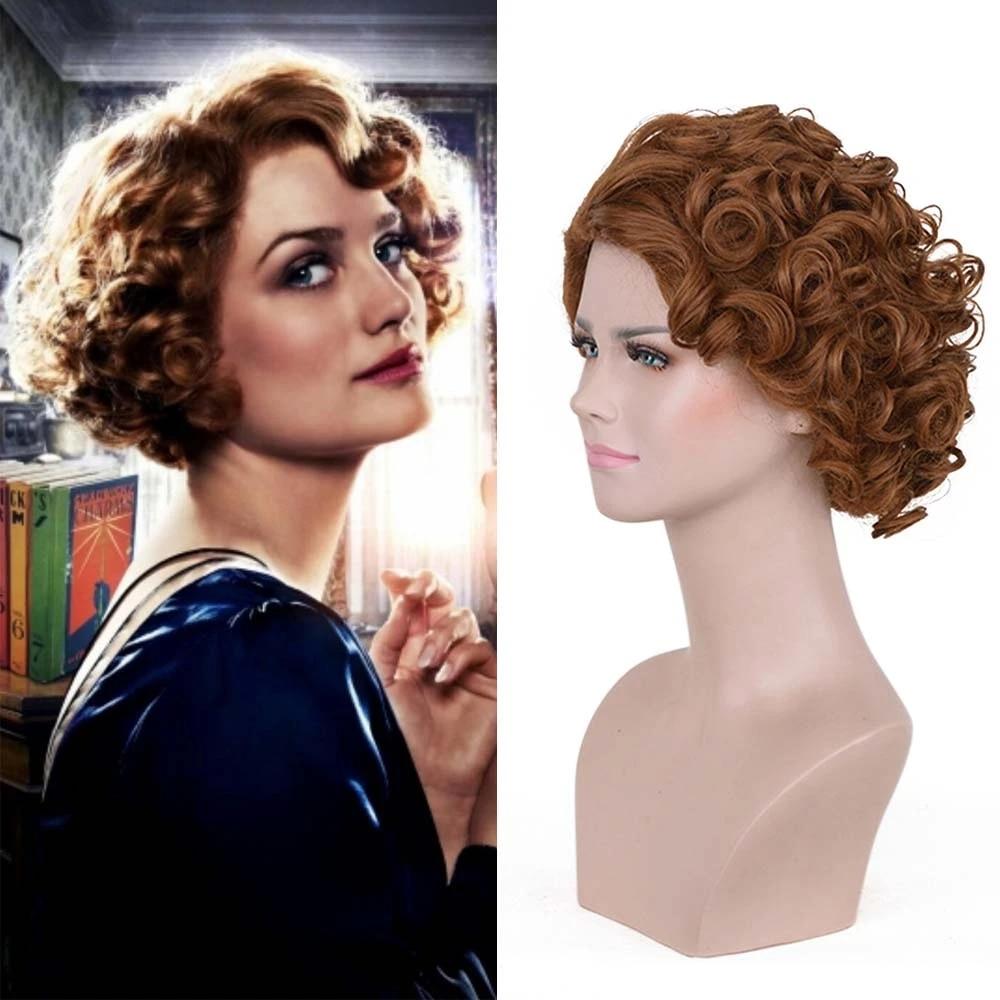 Fantastic Beasts Queenie Goldstein Cosplay Wig Brown Wave Short Hair Women S Vintage Wig Halloween Accessories Party 1920s Wig Aliexpress