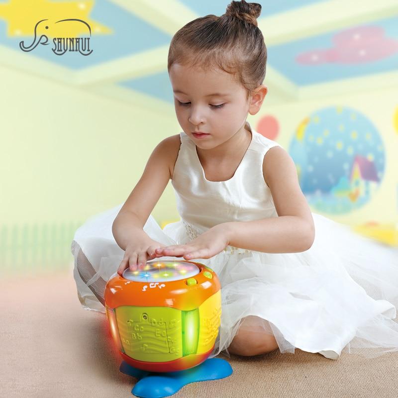 SHUNHUI Baby Electronic Jazz Hand Drum Toys Muziekinstrumenten Licht Slagwerk Drum Muziek Liedjes Leren Educatief Speelgoed voor Kinderen