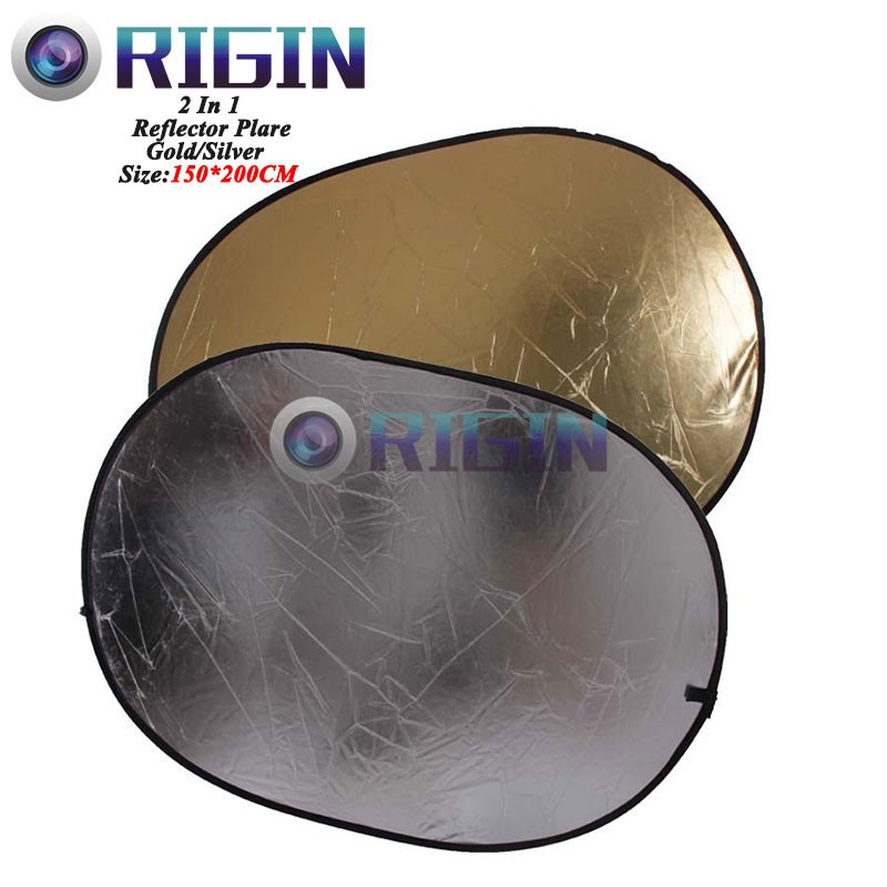 150*200CM/59x78 Studio Flash Accessories 2in1 Gold & Silver Reflector Dish Board Plate Oval For photography
