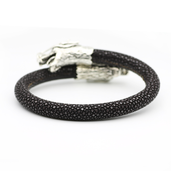 dbb8c452d22a0 Luxury Stingray Charm Bracelet Mens Thailand Stingray Leather Cool  Wristband Sterling Silver S925 Double Dragon Head Bracelets-in Charm  Bracelets from ...