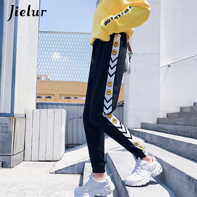 Jielur Smiley Print   Capris   Korean Women   Pants   Autumn Casual Pockets Long Harem   Pants   Elastic Waist Striped Female Trousers M-2XL