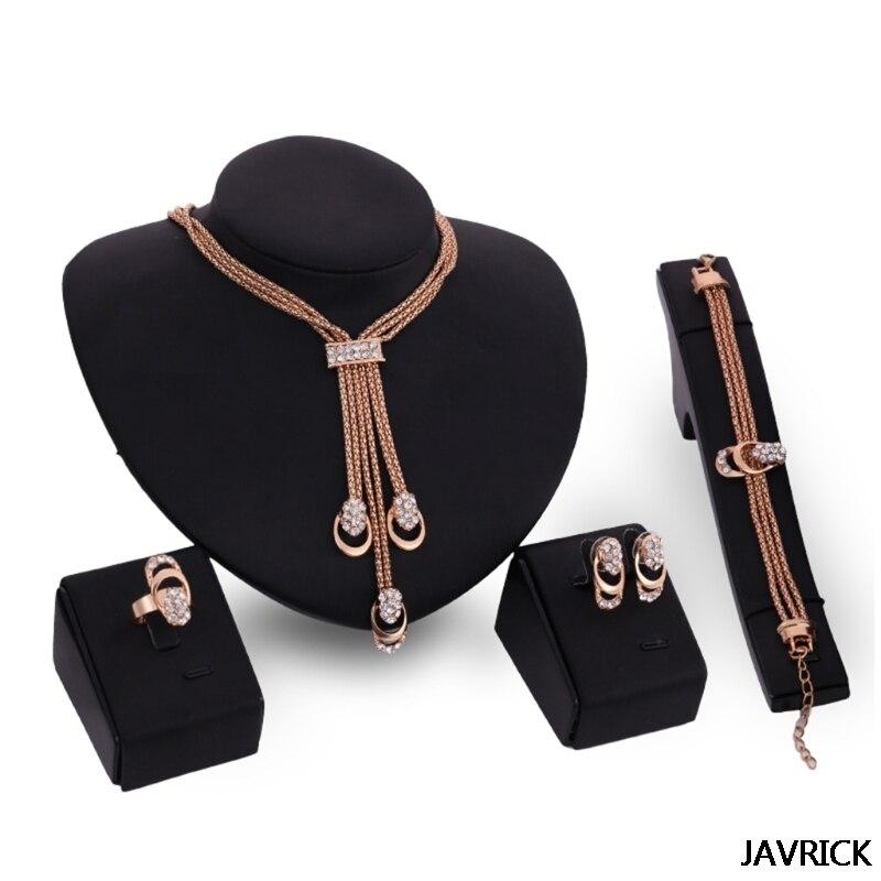 Earring-Ring Jewelry-Sets Bracelet Necklace Rhinestone Women Tassel-Design Delicate