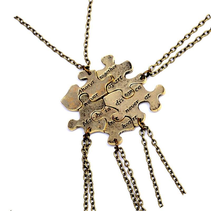 5 pcs/set Vintage Interlocking Jigsaw Puzzle BFF Necklaces Always together never apart Best Friends Necklace For 6 Friendship