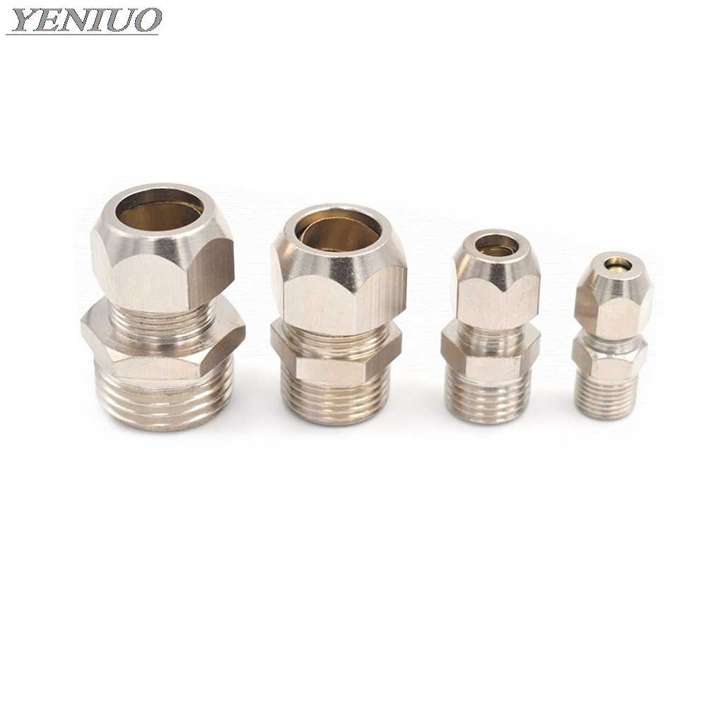 "1/8"" 1/4"" 3/8"" 1/2"" BSP Male Thread  4 6 8 10 12 14 16mm OD Tube brass Ferrule Tube Compression Fitting Connector"