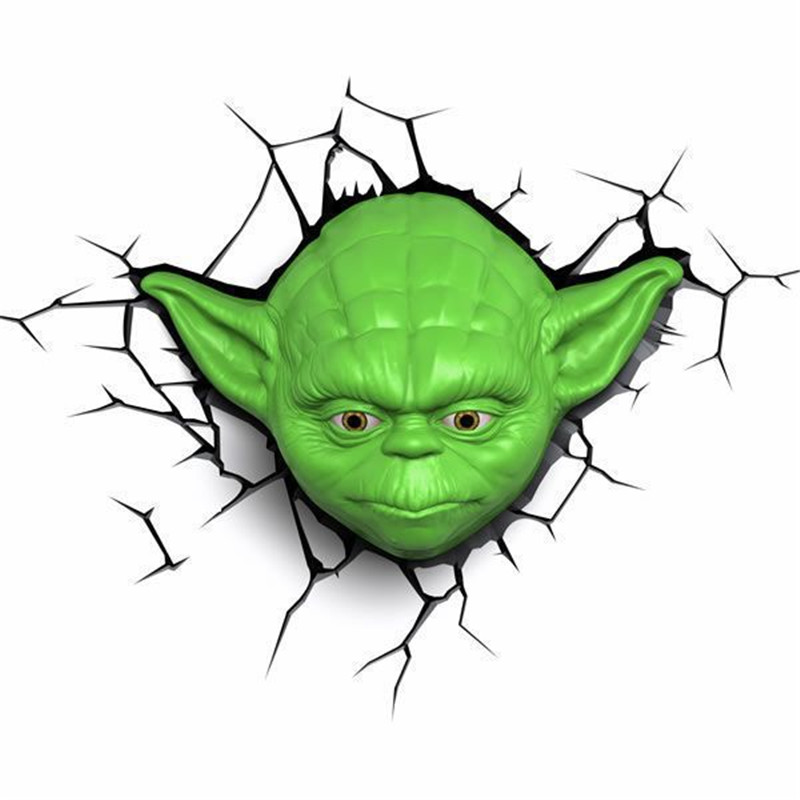 Star Wars Empire Strikes Back Master Yoda Mask Wall Lamp LED Bedside Bedroom Living Room 3D Decorated With Night Light L1115 светильник светодиодный 3dlightfx star wars yoda face 3d