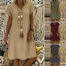 Women Summer Short Sleeve Cotton Linen Dress Vestido Robe Kaftan Femme Vintage V neck Floral Printed Party Sundress 5XL