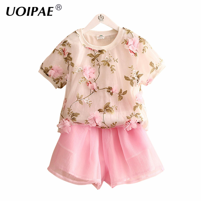 Summer New 2018 Girls T-shirt Tops Flowers Short Sleeve+Shorts Kids Girl Solid Waist Elastic Cute Simple 2 Piece Clothes B0012