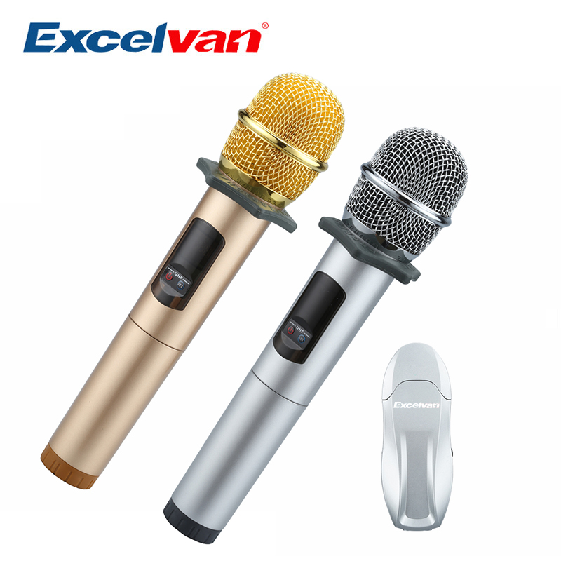 Excelvan K18U Professional Bluetooth 2 Handheld Microphone UHF Wireless Light weight with Receptor Various Frequency 10 Channel excelvan k38 dual wireless microphones with receiver box various frequency high end microphonfor home entertainment conference