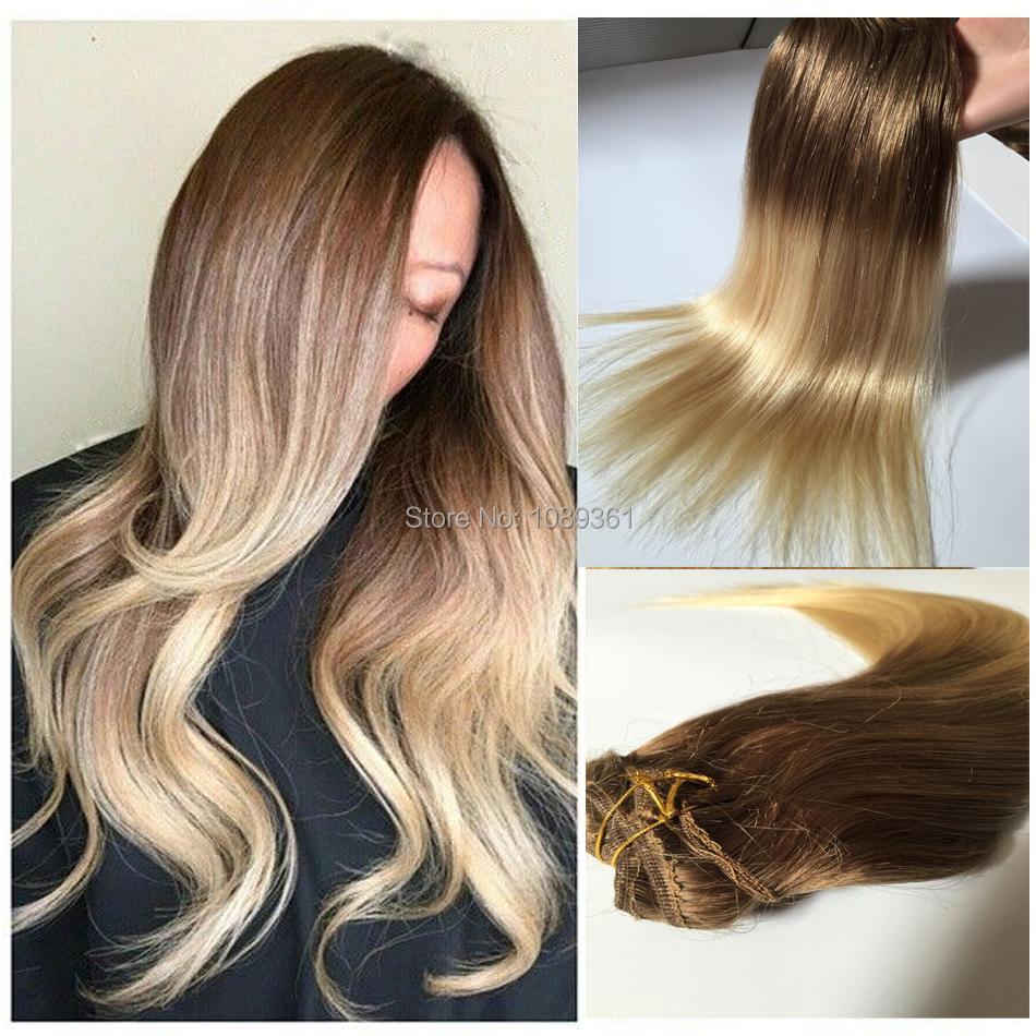 Clip In Human Hair Extensions 860 Ombre Hair Silky Straight 7pcs