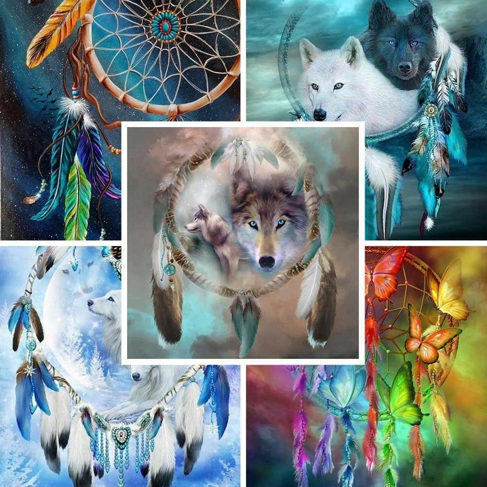 Dreamcatcher lobo broca completa quadrado/redondo animal 5d diamante pintura diamante bordado diamante mosaico ponto cruz diamante