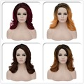 Women lady sexy mid fluffy straight hair bang cosplay cos wig Wigs cap 4colors
