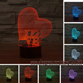 free shipping3D Love Heart LED Night Light Romantic Atmosphere Lamp Lighting  Wedding Decoration Lovers  Couple  Sweetheart Gift