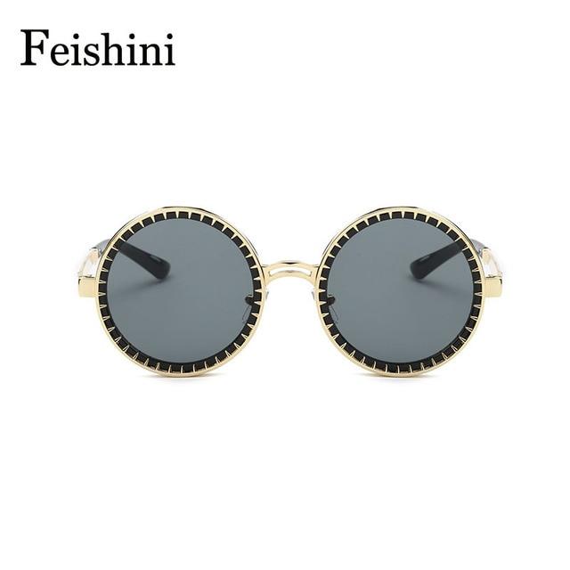 FEISHINI Designer Shop Counters Copper Frame 3D Tine Round Sunglasses Women 2017 Pink UVB Eyewear Sun glasses Men Mirror