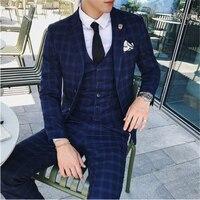 High quality male business suit single breasted men three piece suit size S M L XL XXL XXXL 4XL wedding banquet mens dress suits