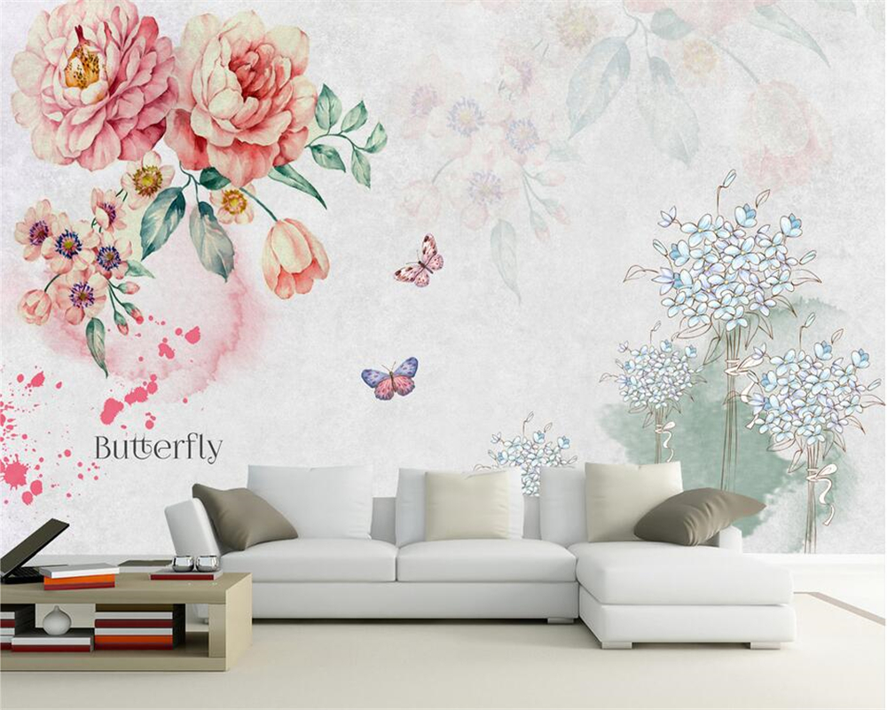 Beibehang Custom Wallpaper Home Decor Mural Retro Hand Painted