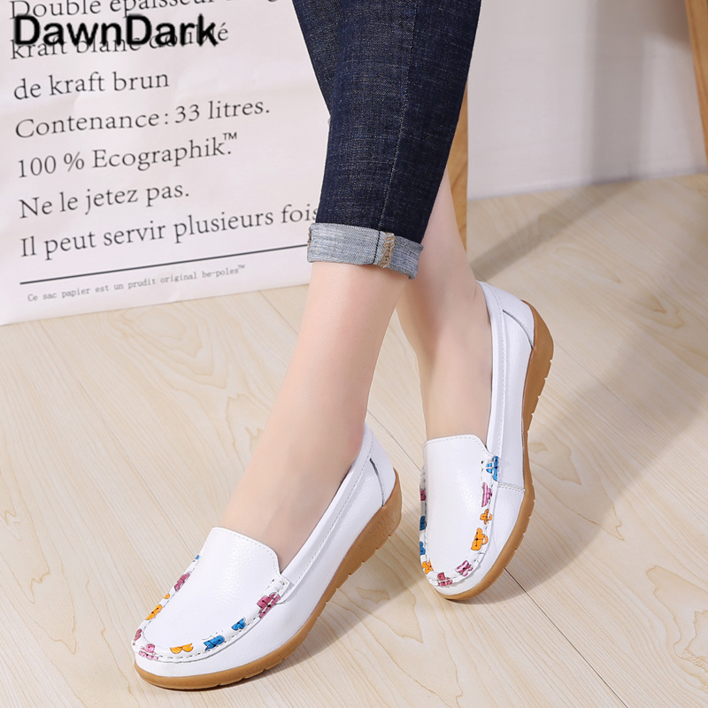 2018 new women leather shoes woman single shoes shallow round tow spring autumn ballet flats shoes women casual shoes Women Shoes Flats Woman Loafers Spring Autumn New Casual Flat Shoes Ladies Lady Shoes Round Toe Shallow Shoes